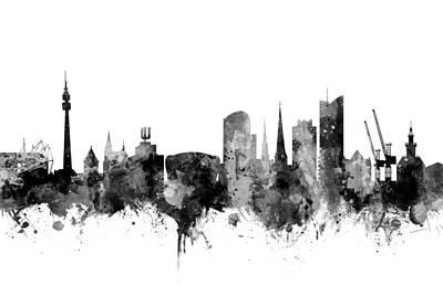 Digital Art - Dortmund Germany Skyline by Michael Tompsett