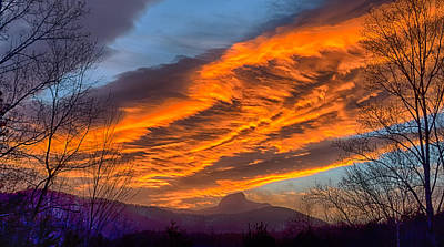 Scifi Portrait Collection - Dramatic Skies Great Smoky Mountains NC at sunset in winter by Alex Grichenko