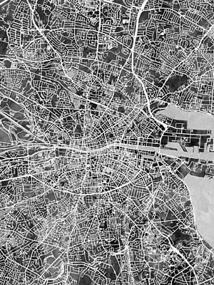 Abstracted Digital Art - Dublin Ireland City Map by Michael Tompsett