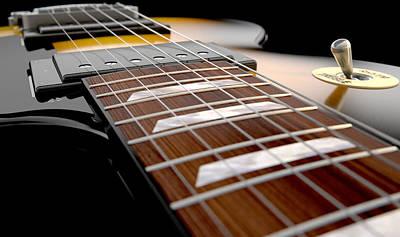 Closeup Digital Art - Electric Guitar Abstract by Allan Swart
