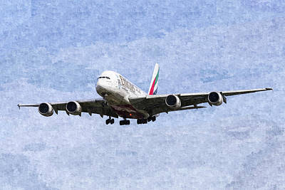 Photograph - Emirates A380 Airbus Oil by David Pyatt