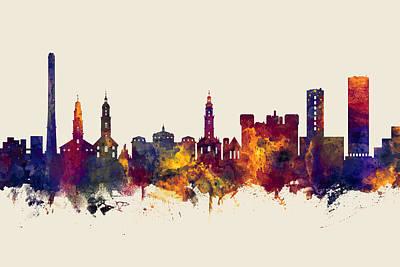 Digital Art - Erlangen Germany Skyline by Michael Tompsett