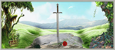 Digital Art - Excalibur by Harald Dastis