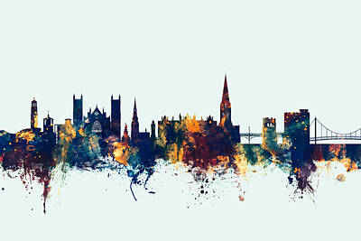 Devon Digital Art - Exeter England Skyline by Michael Tompsett