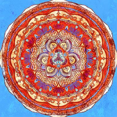 Mandala Painting - Fabric Effect Mandala by Sandrine Kespi