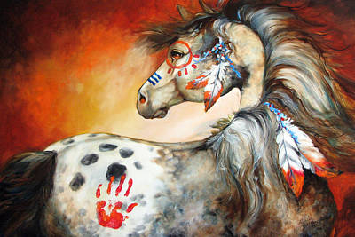 War Horse Painting - 4 Feathers Indian War Pony by Marcia Baldwin