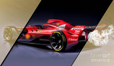 Mixed Media - Ferrari F1 Collection by Marvin Blaine