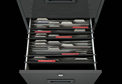 Searching Digital Art - Filing Cabinet Drawer Open Confidential by Allan Swart