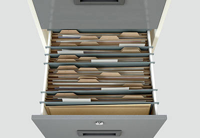 Searching Digital Art - Filing Cabinet Drawer Open Generic by Allan Swart