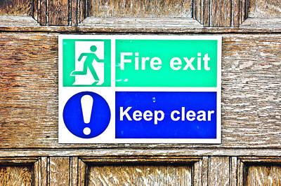 Exclamation Photograph - Fire Exit by Tom Gowanlock