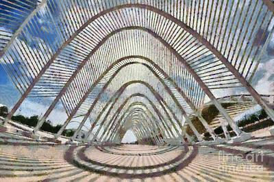 Painting - Fish Eye View Of Archway In Olympic Stadium by George Atsametakis