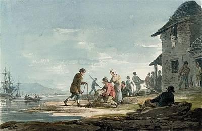 Fishermen At Work On The Foreshore Art Print