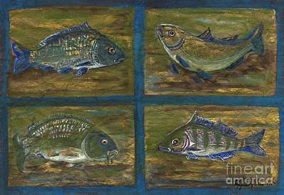 Folkartanna Painting - 4 Fishes by Anna Folkartanna Maciejewska-Dyba