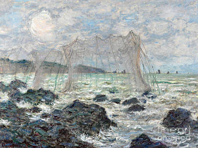 Net Painting - Fishing Nets At Pourville by Claude Monet