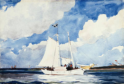 Fashion Paintings - Fishing Schooner by Winslow Homer
