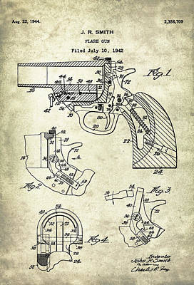 Drawing Digital Art - Flare Gun - Patent Drawing For The 1942 Flare Gun By J. R. Smith by Jose Elias - Sofia Pereira