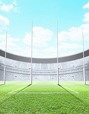 Footie Digital Art - Floodlit Stadium Day by Allan Swart