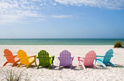 Chair Photograph - Florida Sanibel Island Summer Vacation Beach by ELITE IMAGE photography By Chad McDermott