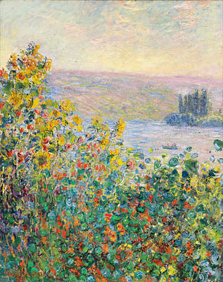 Bed Painting - Flower Beds At Vetheuil by Celestial Images
