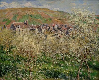 Plum Tree Painting - Flowering Plum Trees by Claude Monet