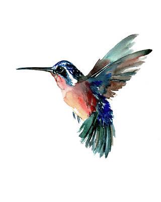 Hummingbird Painting - Flying Hummingbird by Suren Nersisyan