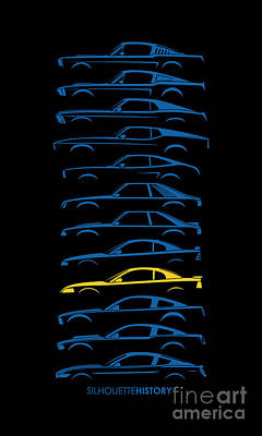 Pony Digital Art - Ford Mustang Silhouettehistory by Gabor Vida