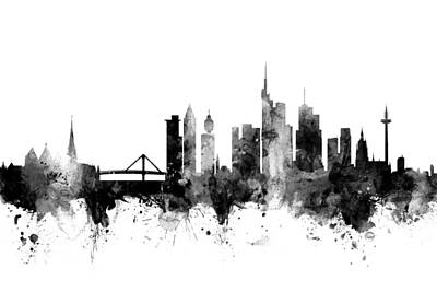 Frankfurt Digital Art - Frankfurt Germany Skyline by Michael Tompsett