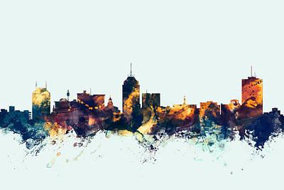 Fresno Digital Art - Fresno California Skyline by Michael Tompsett