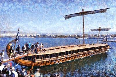 Wooden Painting - Painting Of An Ancient Trireme by George Atsametakis
