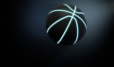 Basketball Digital Art - Futuristic Neon Sports Ball by Allan Swart
