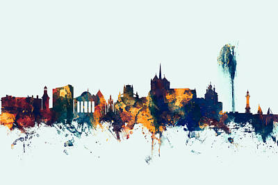 Switzerland Digital Art - Geneva Switzerland Skyline by Michael Tompsett