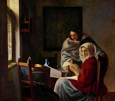 Johannes Vermeer Wall Art - Painting - Girl Interrupted At Her Music by Johannes Vermeer