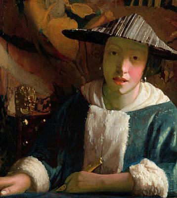 Johannes Vermeer Wall Art - Painting - Girl With A Flute by Johannes Vermeer