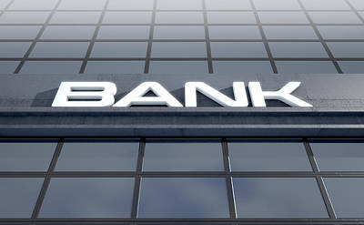 Glass Bank Building Signage Art Print