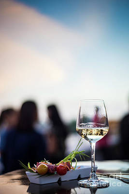 Photograph - Glass Of White Wine With Gourmet Food Tapa Snacks Outside by Jacek Malipan