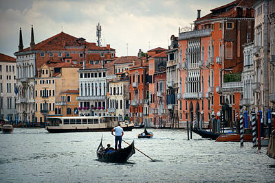 Photograph - Gondola In Canal In Venice by Songquan Deng