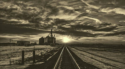 Photograph - Grain Elevator And Rail Line At Sunset by L O C