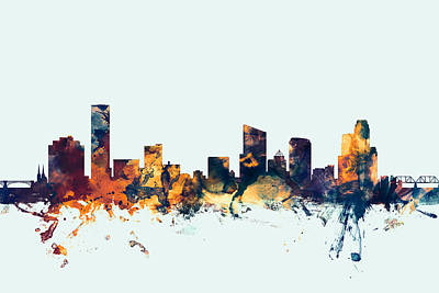 Silhouette Digital Art - Grand Rapids Michigan Skyline by Michael Tompsett