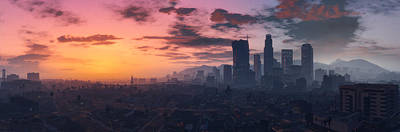Skyline Digital Art - Grand Theft Auto V by Super Lovely
