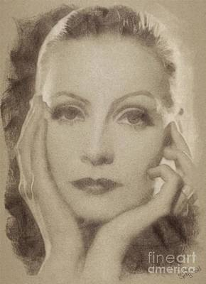 Musicians Drawings Rights Managed Images - Greta Garbo Vintage Hollywood Actress Royalty-Free Image by John Springfield