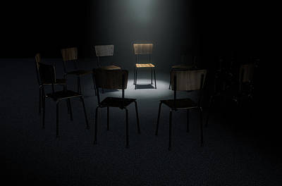 Depression Digital Art - Group Therapy Chairs by Allan Swart