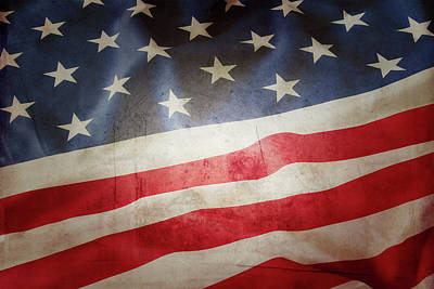 Photograph - Grunge American Flag 5 by Les Cunliffe