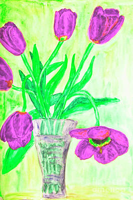 Painting - Hand Painted Picture, Tulips In Vase by Irina Afonskaya