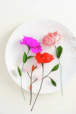 Crepe Paper Photograph - Handmade Paper Flowers by Elisabeth Coelfen