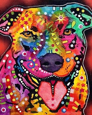 Pit Bull Mixed Media - Happy Bull by Dean Russo