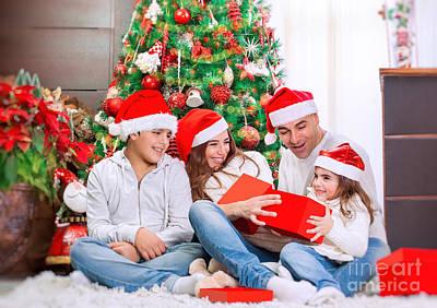 Photograph - Happy Family Near Christmas Tree by Anna Om