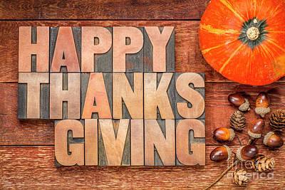 Photograph - Happy Thanksgiving Greeting Card by Marek Uliasz