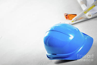 Indoors Photograph - Hard Hat, Glasses And Blueprints At Construction Site. by Michal Bednarek