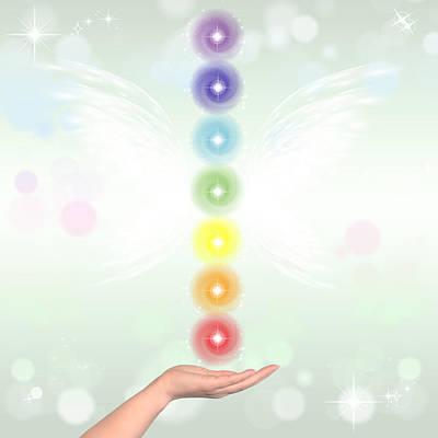 Copy Mixed Media - Healing Hand And Seven Chakras by Stela Knezevic