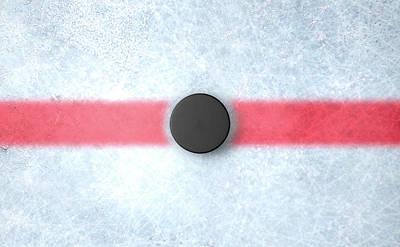 Stadium Digital Art - Hockey Puck Centre by Allan Swart
